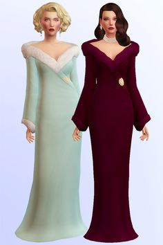 sims, spice and everything nice — ✨ Diva - a long gown with fur in 20 swatches ✨. Sims 4 Mods Clothes, Sims 4 Clothing, Sims Mods, Female Clothing, Sims 4 Cc Packs, Sims 4 Mm Cc, Maxis, Vêtement Harris Tweed, Sims 4 Dresses