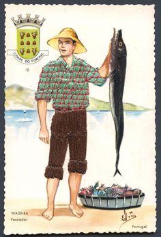 Madeira, a fisherman Portugal, Old Postcards, Filofax, Traditional Dresses, Portuguese, Paper Dolls, Needlepoint, Folk, Printables