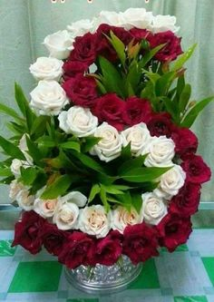Red Roses with white Roses Funeral Floral Arrangements, Creative Flower Arrangements, Church Flower Arrangements, Beautiful Flower Arrangements, Beautiful Rose Flowers, Exotic Flowers, Arte Floral, Rose Flower Wallpaper, Funeral Flowers