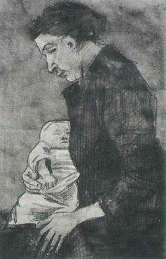 Sien Nursing Baby, Half-Figure - Vincent van Gogh