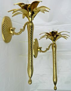 2 Large Wall Sconce MCM Vtg Candle Stick Holder Lot Set Pair Brass Palm Tree