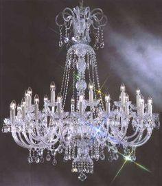 "Large Foyer / Entryway Crystal Chandelier Murano Venetian Style Chandeliers Lighting 30 Lights W50"" X H51"" - Cjd-C181-Cs/117/30"
