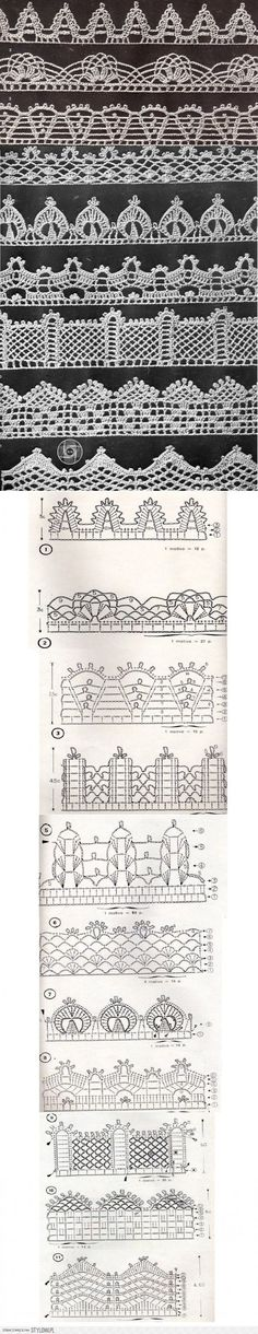 Lace Crochet Edgings with their charts: