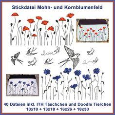 Stickdatei Mohn- und Kornblumenfeld