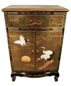 Oriental Gold Leaf Furniture Hand Painted Round Front Cabinets 36'' Wide - Oriental Furnishings: Furniture & Decor