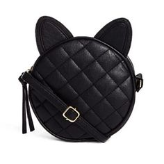Black Cat Purse - Love Cat Design Black Crossbody Purse, Crossbody Shoulder Bag, Shoulder Handbags, Leather Crossbody, Pu Leather, Cat Purse, Cat Bag, Vegan Purses, Across Body Bag