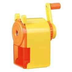 Superstevige puntenslijper, speciaal voor op je bureau. Knijp de hendels samen, knijp het potlood goed vast en draaien maar, binnen no-time een scherpe punt aan je potloden. Grote vangbak dus ideaal voor iedereen die veel schrijft, tekent en kleurt met potloden.�  Keuze uit 2 kleuren: Groen/blauw of Geel/oranje