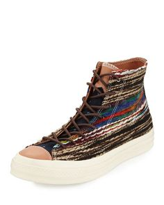 John Varvatos Striped Woven High-Top Sneaker by Converse at Neiman Marcus.