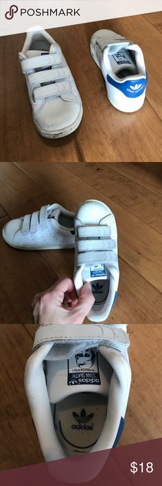 Toddler Navy & White Stan Smiths Stan Smith velcro shoes for toddler. Gently used. White leather with navy accents. By Adidas. Adidas Shoes Sneakers