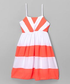 Another great find on #zulily! Coral Chevron Color Block Dress - Toddler & Girls by Maya Fashion #zulilyfinds