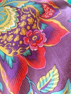 Bedroom inspiration. Fabric w purple Teal yellow n red