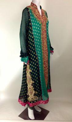 $395 Green Anghraka with churridar panama ready to ship in medium