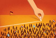 Die Zeit: Refugees and Germany - Davide Bonazzi Refugees, A Level Art Sketchbook, Political Art, Social Integration, Graphic Design Posters, Book Cover Design, Urban Art, Installation Art, Illustrations Posters