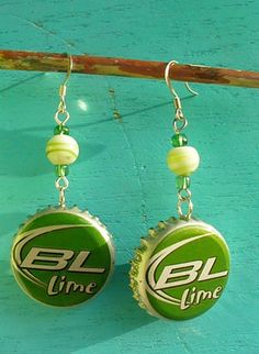 BUD LIGHT LIME Beer Bottle Cap Jewelry EARRINGS High Quality Beads Bright Green