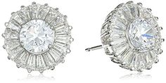 Rhodium Plated Sterling Silver Round Cubic Zirconia 6mm Stud Earrings #deals