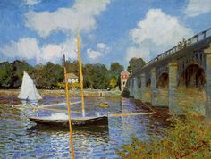 IMPRESSIONISMO -CLAUDE MONET - A ponte em Argenteuil - Óleo sobre tela - 1874