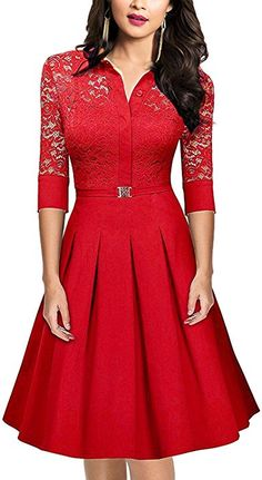 SUJAN Women's Vintage 1950s Style 3/4 Sleeve Red Lace A-Line Dress Red M at Amazon Women's Clothing store: