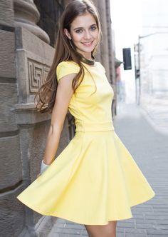 Yellow Short Sleeve Ruffle Dress