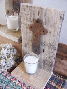 Reclaimed Pallet Wood Candle Holder Wall Sconce by FSBstudio, $16.99