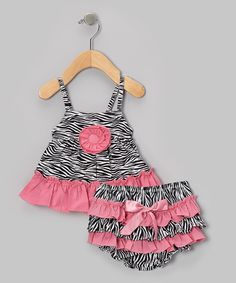 Take a look at this Dusty Rose Zebra Swing Top & Ruffle Diaper Cover - Infant & Toddler by Bubby & Belle on #zulily today!