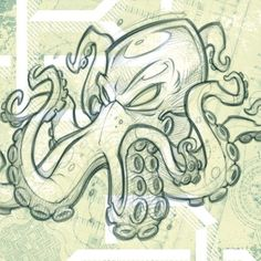 Octopus tattoo is a favorite marine life tattoo design for both women and men. Today, the octopus tattoo is a favorite decorative tattoo. Not only con. Cartoon Drawings, Cartoon Art, Animal Drawings, Cool Drawings, Drawing Sketches, Octopus Drawing, Octopus Tattoo Design, Octopus Tattoos, Octopus Sketch