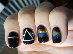 best damn dark side of the moon nail artwork I've come across to date! » #nails #pinkfloyd