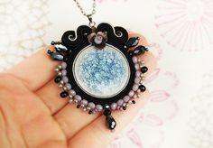 Black soutache pendant light blue pendant round pendant by pUkke