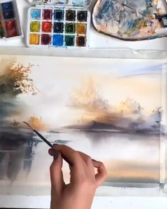 Amazing piece😄 By 💫 Release your creativity with a BONUS eBook Library by buying NIL Tech Pencil Set, just click ➡️THE WEB. Watercolor Painting Techniques, Watercolor Video, Watercolor Landscape Paintings, Watercolor Artwork, Landscape Art, Cool Pictures To Draw, Drawing Pictures, Drawing Tips, Guache