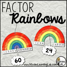 Decorate your math classroom with vibrant factor rainbows to help students memorize multiplication, multiples, and factors.
