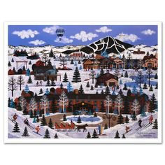 """Sun Valley Winter Wonderland"" limited edition lithograph by Jane Wooster Scott"