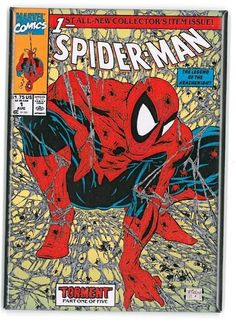 Spider-Man Cover: Spider-Man by Todd McFarlane Marvel Comics Plastic Sign - 30 x 41 cm