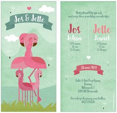 www.hetuilennestje.nl geboortekaartje Jos en Jette: Geboortekaartje, Flamingo, Flamingo's, Illustratief, dieren, landschap, roze, blauw, wolken, bloemen, meisje, jongen, tweeling, meerling. Het Uilennestje geboortekaartjes