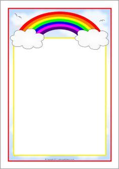 Rainbow-themed A4 page borders (SB7475) - SparkleBox