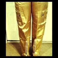 Parisian Rockstar Chic Satin Cargo Pant by Biscote Parisian  Rockstar Chic Satin Cargo Pant by Biscote Biscote Pants