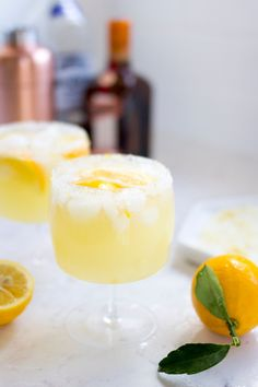 Winter is the perfect time to make Meyer Lemon Margaritas with a lemon zest, sugar and salt dipped rim. Sweet, tart and delicious! Margarita Recipes, Cocktail Recipes, Drink Recipes, Cocktail Ideas, Cocktail Drinks, Yummy Drinks, Healthy Drinks, Refreshing Drinks, Margaritas