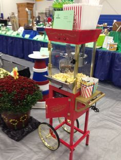 Popcorn machine for sale at the school auction