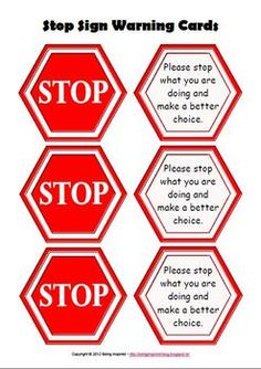 Stop Sign warning cards for encouraging self regulation - use this as a visual reminder for myself and the child that I have given a warning?
