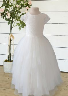 Flowergirl Dress with Tulle Bow Tulle Bows, One Shoulder Wedding Dress, Bridesmaids, Flower Girl Dresses, Wedding Dresses, Fashion, Guys, Bride Gowns, Wedding Gowns