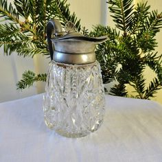 antique syrup pitchers | Antique Syrup Pitcher Cut Crystal Plated Pewter Top