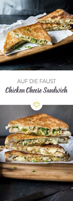 On the fist - Grilled Chicken Cheese Auf die Faust – Grilled Chicken Cheese Sandwich You don& have a lot of time to cook but still fancy a damn tasty dish? Then a grilled chicken cheese sandwich is just the thing. Cheese Sandwich Recipes, Lunch Sandwiches, Burger Recipes, Grilling Recipes, Barbecue Recipes, Tasty Dishes, Food Inspiration, Dinner Recipes, Brunch Recipes