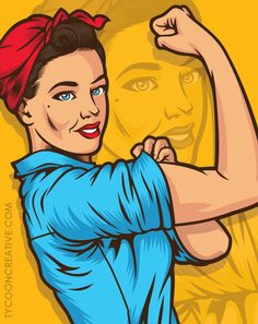 Rosie the Riveter recreation. Illustration Art Drawing, Art Drawings, Pop Art Vintage, Desenho Pop Art, Pop Art Decor, Ww2 Posters, Pop Art Women, Vector Pop, Pop Art Wallpaper