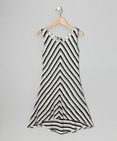 Look at this #zulilyfind! Gray & Black Sparkle Stripe Hi-Low Dress #zulilyfinds