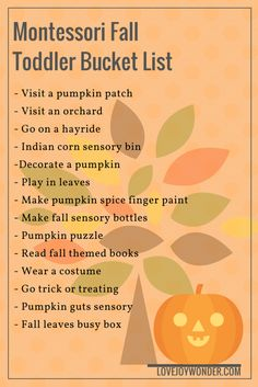 LoveJoyWonder.com - Montessori Inspired Fall Bucket List for Toddlers and Children