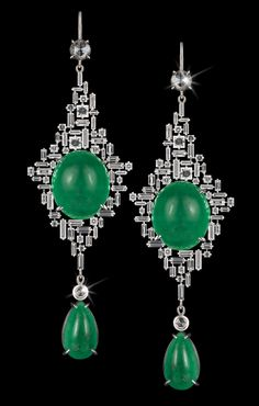 Canturi Cubism diamond and emerald drop earrings by Stefano Canturi.