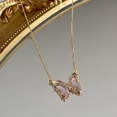 PINK BUTTERFLY NECKLACE GOLD