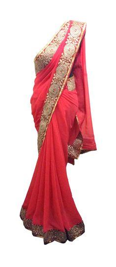 Gajari Pink Saree — House Of 2 — Cocktail Sarees | Indianhanger.com