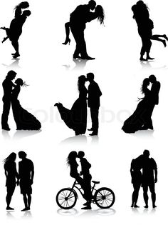 Stock vector of 'Romantic couples silhouettes'