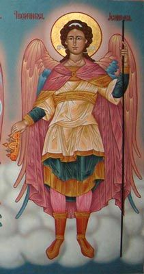 "Archangels-Guardian-Angels-Angel-Spirits -Jehudiel - One of the Heavenly Princes"" in Orthodox tradition (Russian Painting) Archangel Sandalphon, Archangel Raguel, Angels Among Us, Angels And Demons, Religious Icons, Religious Art, Catholic Art, Seven Archangels, Angels Touch"