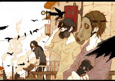 Tags: Anime, City, Crow, Crossed Arms, Gas Mask, Unnaturally White Skin, Looking Down