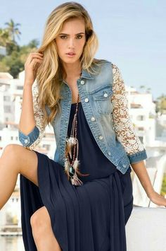 I love the lace sleeves on this denim vest.